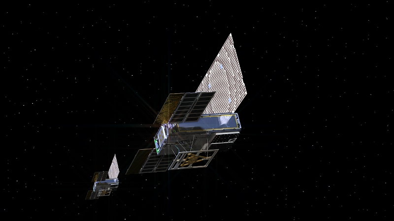 A rendering of the twin Mars Cube One (MarCO) spacecraft as they fly through deepspace